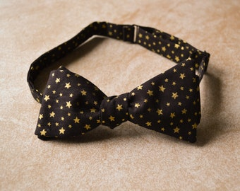 3d80f603676e Gold Star Bow Tie - Metallic Bow Tie - Adult Bow Tie