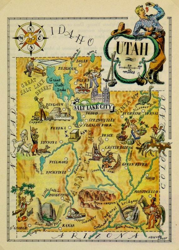 Iowa Antique Vintage Pictorial Map
