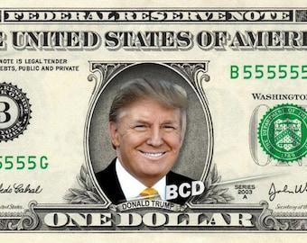 DONALD TRUMP on REAL Dollar Bill Cash Money Collectible Memorabilia Celebrity Bank Note