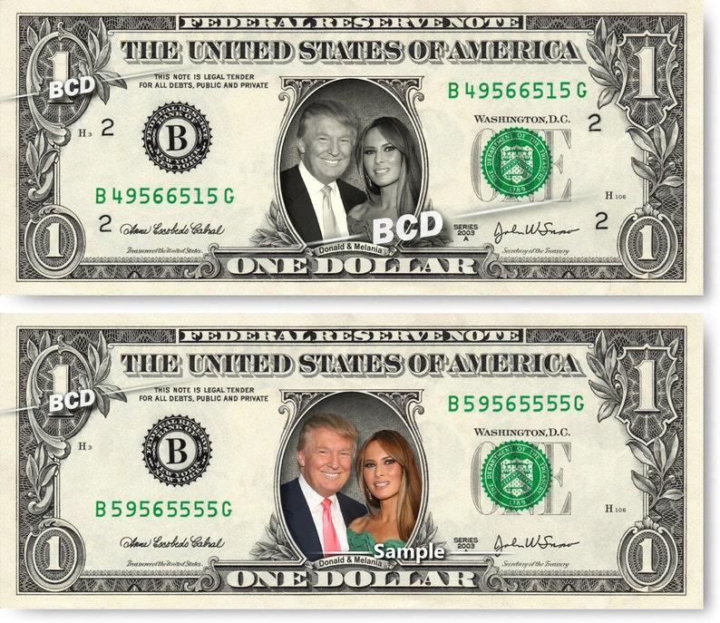 DONALD & MELANIA TRUMP on a Real Dollar Bill Cash Money image 0