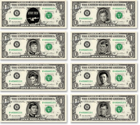 TV M3 1-Leonard Nimoy Star Trek Mr Spock Dollar Bill Collectible--Novelty