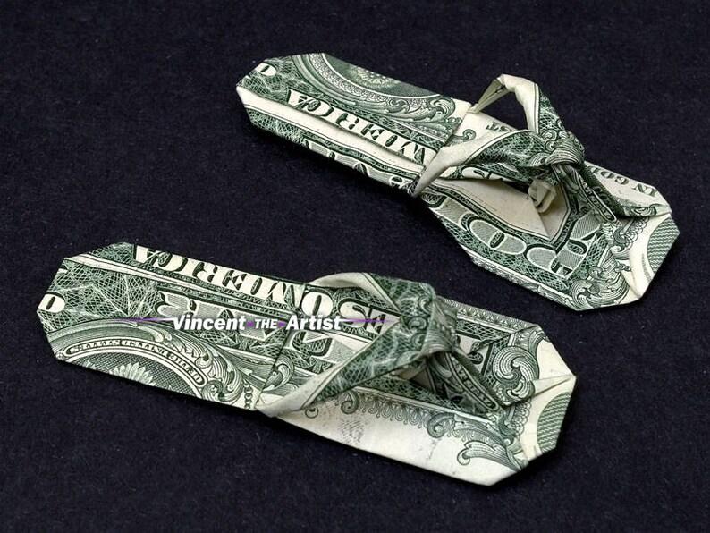 7726e56ffdf4a1 SANDALS Money Origami Art Dollar Bill Cash Slippers Thongs