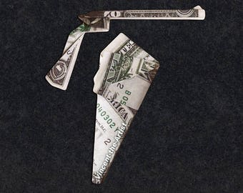 GUN and HOLSTER Money Origami - Weapon made of real Dollar Bills