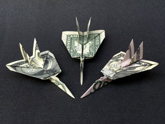 F 14a Tomcat Jet Fighter Money Origami Dollar Military Army Etsy