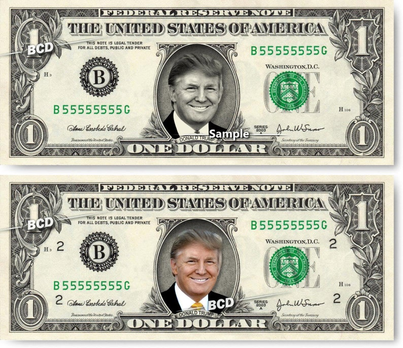 DONALD TRUMP on REAL Dollar Bill Cash Money Collectible image 0