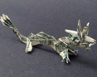 DRAGON Money Origami - Animal Creature Made of Real Dollar Bill
