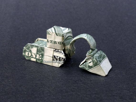 Excavator Dollar Origami Construction Vehicle Made Of Real Etsy