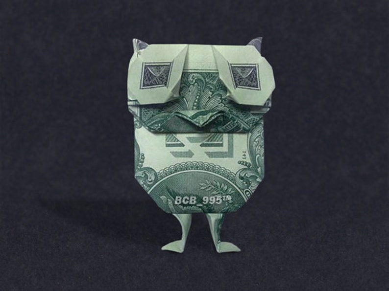 BABY OWL Money Origami Dollar Bill Bird Farm Animal Cash Sculptors Bank Note Handmade Dinero