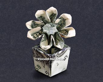FLOWER in a POT Dollar Origami - Great Gift Idea - Plant Made of Money