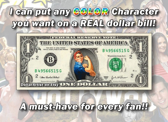ONE Currency Cash Money Bank Note Cartoon COLOR Character on a Dollar Bill 1