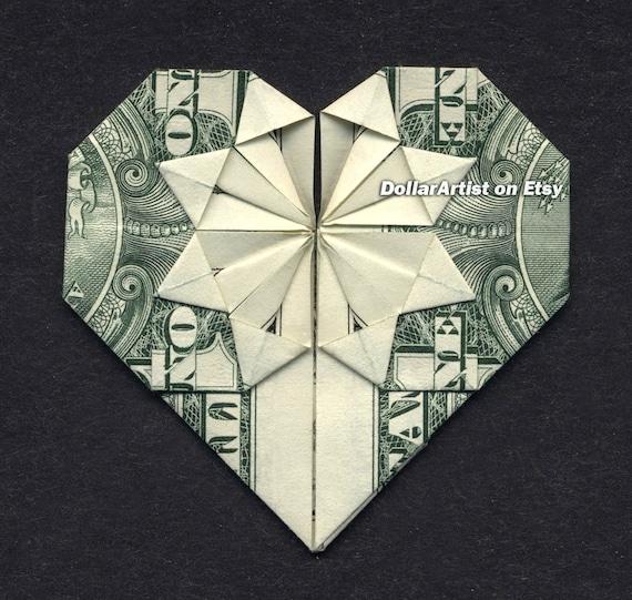 Money Origami Heart Folding Instructions Included Dollar Etsy