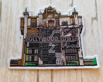 """In Stock Now 4.5"""" Disneyland Disney Parks Hollywood Tower of Terror Hotel The Twilight Zone Embroidered Iron On Patch Applique Inspired"""