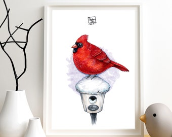 CARDINAL BIRD - Giclee Art PRINT - Hand Drawn Illustration - St Louis / Arizona / Bird Lovers / Cute / Nature / Birds / Nursery Art