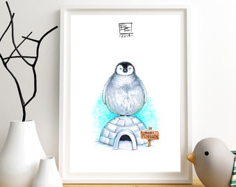 BABY PENGUIN - Giclee Art PRInt - Hand Drawn Illustration - Penguin / Bird Lovers / Winter / Cute / Colorful / Nature / Birds / Nursery Art