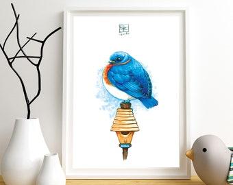 BLUEBIRD - Giclee Art Print - Colored Hand Drawn Illustration - Blue Bird / Bird Lovers / Cute / Colorful / Nature / Birds / Nursery Art