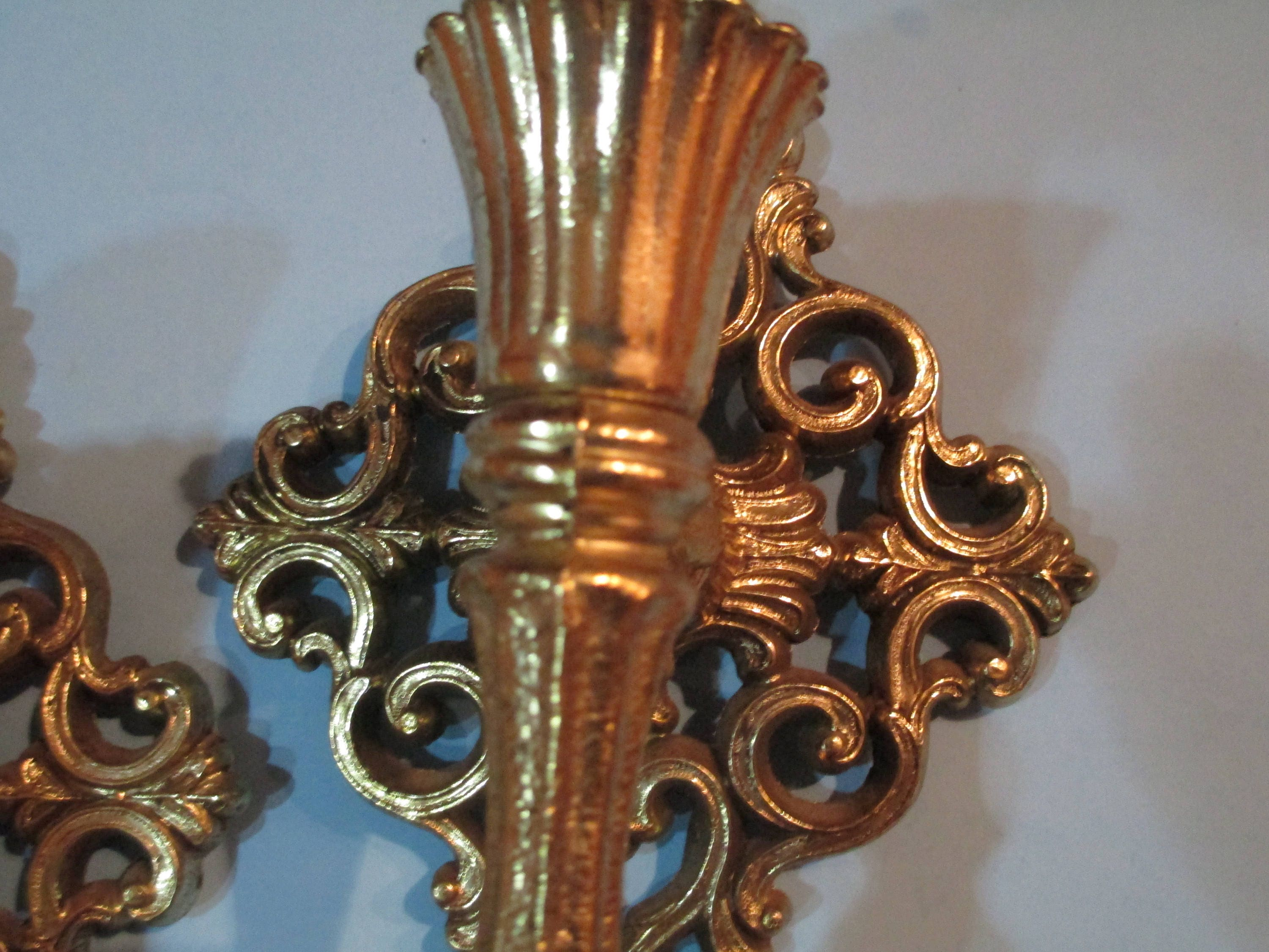 Fantastic Gold Wall Sconces Set Of 2 Gold Wall Candleholders Ornate Etsy Wiring 101 Ferenstreekradiomeanderfmnl