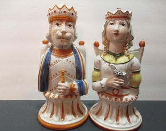 KING AND QUEEN Royal Figurines Chess Pieces, King Queen Royal Figurines, King and Queen Porcelain Chess Pieces