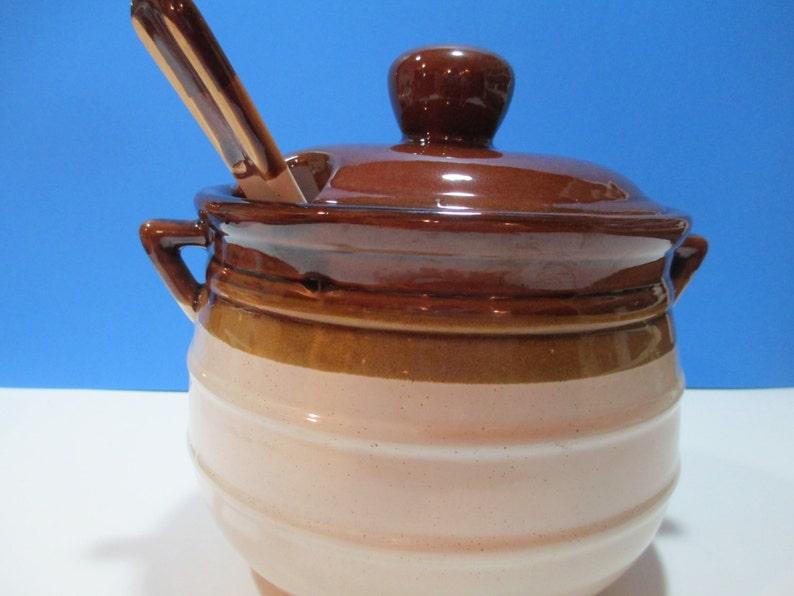 BEANPOT GAILSTYN SUTTON Large Vintage Stoneware w Ladle Brown Stoneware Beanpole Vtg Beanpot and Ladle Gailstyn Sutton Beanpot