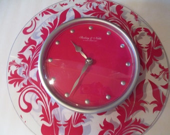 STERLING NOBLE DAMASK Wall Clock, Pink Wall Clock, Retro Wall Clock, Kitchen Clock, Vtg Wall Clock