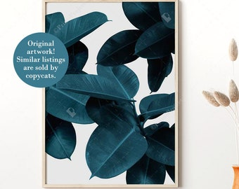 Blue Leaves Wall Art, Tropical Leaf Print, Above Couch Wall Decor, Botanical Poster, Digital Download Prints