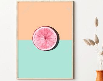 Pink and Blue, Kitchen Poster, Citrus Print, Pop Art, Vegan Gift, Dining Room Decor, Pastel Colors, Wall Art Prints, Digital Download
