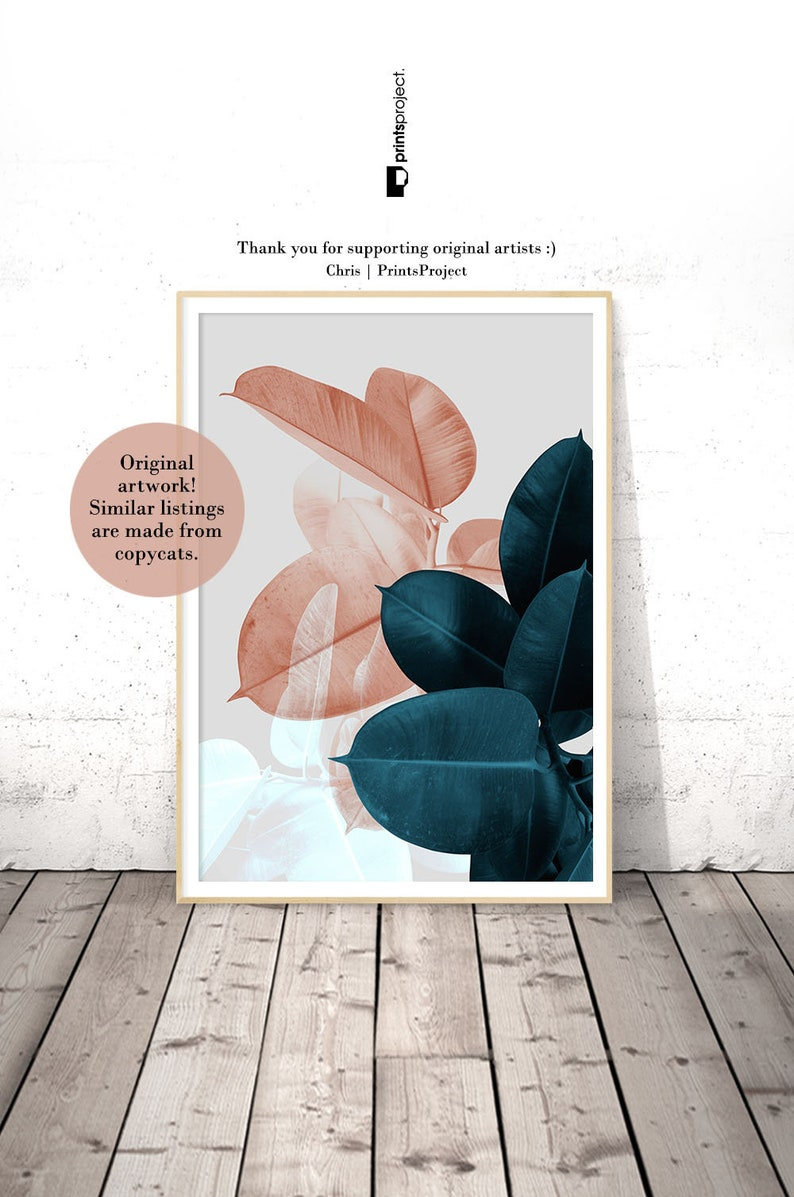 Blush pink leaves above bed wall art wedding gift blue plant print botanical poster tropical leaf digital print download printable art