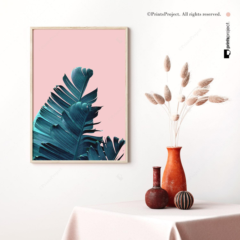 Tropical Leaf Print Ficus Elastica Plant Digital Download Leaves Wall Art Botanical print Modern Botanical Pink and Blue Wall Art