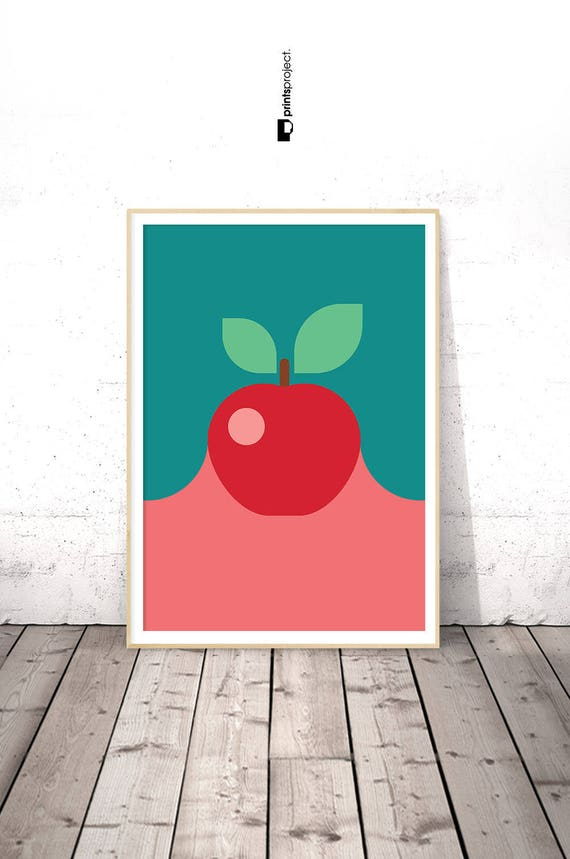 Apple Wall Art Kitchen Blue And Red Digital