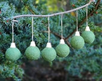 Christmas ball Ornament set/Green Christmas Tree Ornament/green Ornament/traditional Christmas Tree/Holiday Decoration/sustainable holidays