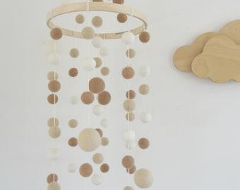 Baby mobile/nursery mobile/baby crib mobile/cream beige white/felt balls mobile/boho nursery/unisex nursery/pompom mobile/scandinavian decor