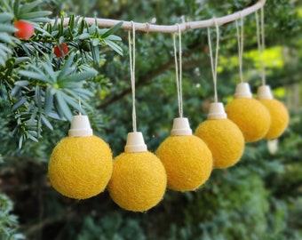 Christmas ball Ornament set/Mustard Christmas Tree Ornament/yellow Ornament/Christmas Tree/Holiday Decoration/scandinavian christmas/ecoXmas