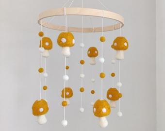 Baby mobile/nursery mobile/mustard mushrooms baby crib mobile/toadstool/felt balls mobile/boho nursery/unisex/pompom mobile/neutral decor