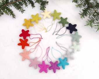 Christmas Stars Ornaments/Rainbow Christmas Tree Ornament/Star Ornament/Christmas Tree/Holiday Decoration/Felted Star/childproof ornament