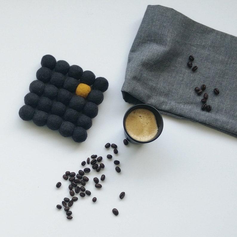 Felt balls trivet/gray charcoal mustard image 0