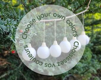 CUSTOM Christmas ball Ornament set/ Christmas Tree Ornament/Ornaments/Colored Christmas Tree/Holiday Decoration/Felt/sustainable holidays