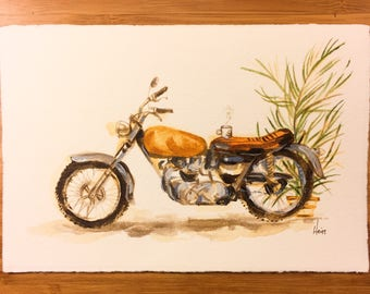 Motorcycle with Coffee Cup and Potted Plant — Original Acrylic Painting
