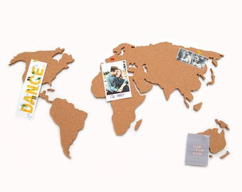 Cork world map etsy world map cork board gumiabroncs Image collections