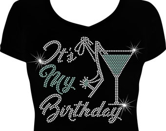 Its My Birthday Bling Shirt Rhinestone Women