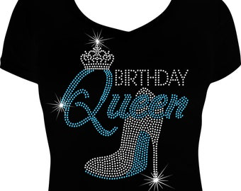 48925bc18 Birthday Queen Bling Shirt, Birthday Bling Shirt, Birthday Shirt,  Rhinestone Birthday Shirt, Birthday gift for her, Ladies Bling Shirts