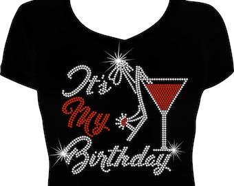 Its My Birthday Bling Shirt Rhinestone Woman Women