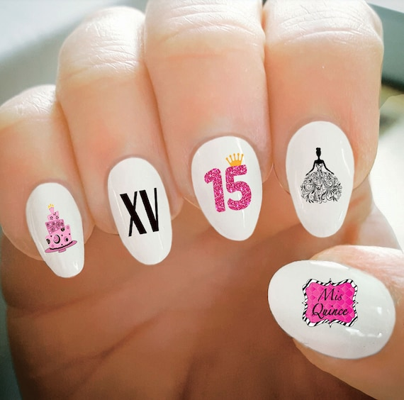 Nail Decals, Quince Nail Decals, Quinceanera, Happy Birthday, Balloons,  Cake, Princess, Water Transfer, Nail Tattoo, Fashionable Nail Art