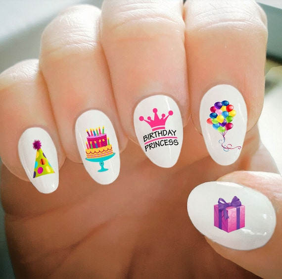 Nail Decals Happy Birthday Nail Decals Balloons Cake Party Etsy
