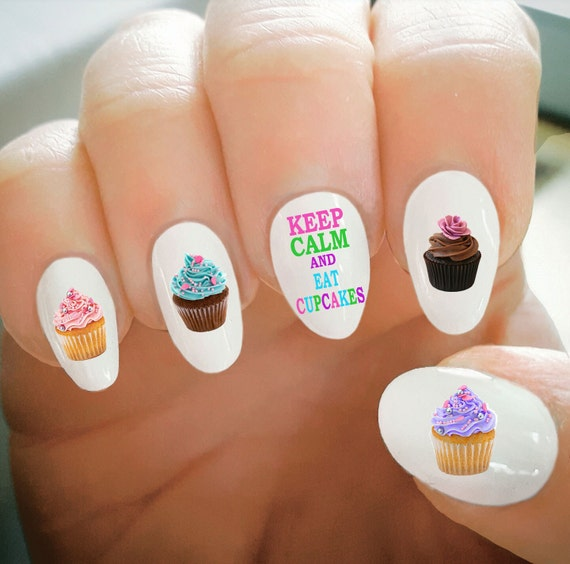Nail Decals Cupcake Nail Decals Water Transfer Nail Decals Etsy