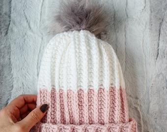 Modern PomPom Hat / Crochet Pattern / Modern Crochet / Modern Crochet Hat / Faux Knit Hat