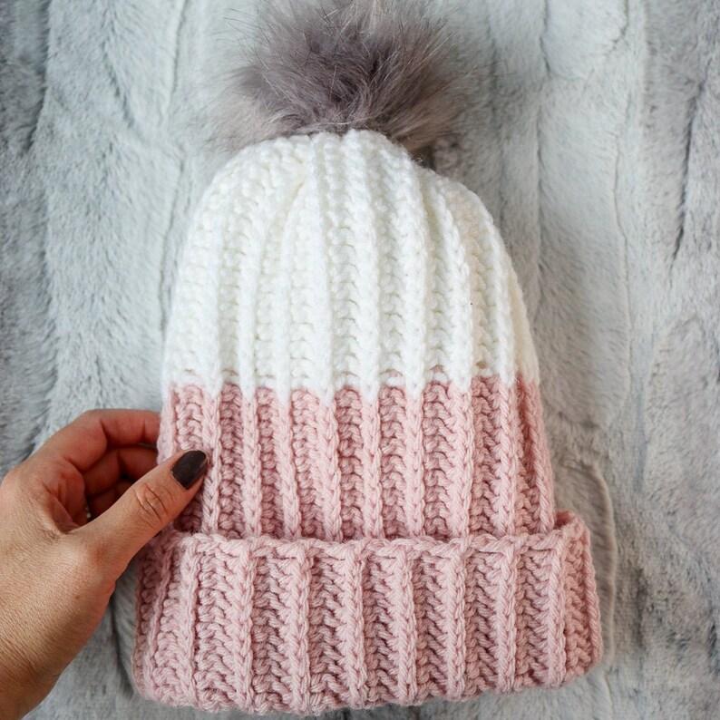 Modern PomPom Hat / Crochet Pattern / Modern Crochet / Modern image 0