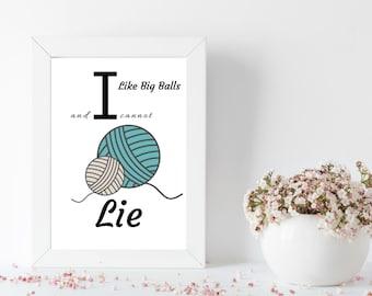 I Like Big Balls and I Cannot Lie Wall Decor, crochet, knit, yarn, craft room, decor, wall art, art, yarn stash, photo prop