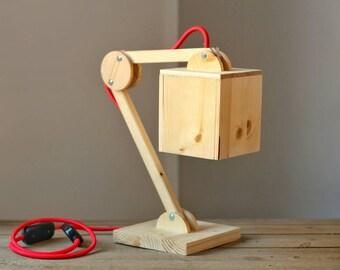 Lampe de table en bois articulés (VERSION rouge)