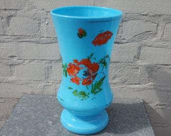 Vintage 1930 cyan blue opal glass vase with orange flowers
