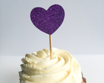 Glitter Heart Cupcake Toppers • Purple • Wedding • Birthday • Baby Shower • Bridal Shower • Engagement • Food Picks