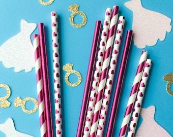 Pink Foil Paper Straws • Foil Straws • Bridal Shower Decor • Baby Shower Decor • Bachelorette Party • Birthday Decor • Wedding Decor
